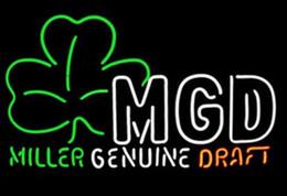 NeoN shamrock light online shopping - Custom New Miller MGD Shamrock Real Glass Neon Sign light Beer Bar Sign Send need photo x15 quot