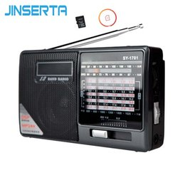 Discount portable radio player headphones - JINSERTA Full Band Radio FM Stereo AM SW DSP World Band Receiver MP3 Player with Headphone Jack Support TF card Playback