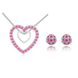 $enCountryForm.capitalKeyWord NZ - Luxury Elegant Pendant Necklace Shamballa Stud Earring Austrian Crystal Double Heart Necklace For Women Wedding Jewelry Sets