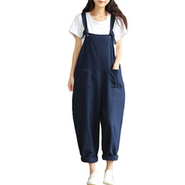 Overalls Jumpsuits For Women NZ - Wide Leg Long Pants Harem Jumpsuit For Women Suspenders Playsuits Plus Size Overalls 2018 Summer Rompers One Piece Bodysuits