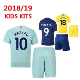 18 19 HAZARD Kids Set Soccer Jersey 2018 2019 MARCOS ALONSO MORATA Kids Kit  GIROUD KOVACIC Children Football Uniform PEDRO Youth Soccer Sets 11c17d9f1