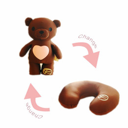 Cute Travel Neck Pillows Australia - Cute Nanoparticle stuffed teddy bear toy doll can be change into a plane travel neck pillow love gifts for girlfriend