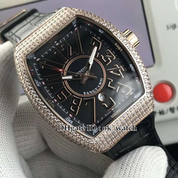 $enCountryForm.capitalKeyWord Canada - MEN'S COLLECTION Vanguard Men's Automatic Watch V45 SC DT Diamond bezel Rose gold case black dial Gents sport watch Leather   rubber strap