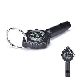 Wholesale 2 in Outdoor Camping Hiking Emergency Whistle Compass Outdoor Tools Black color