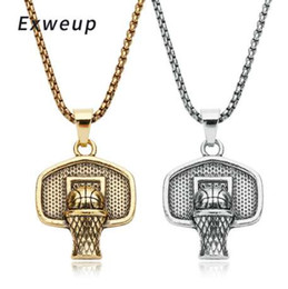 Wholesale Exweup Basketball Basket Pendant Necklace Stainless Steel Chain Ball Necklace Charm Men Sports Team Hip Hop Jewelry Gift