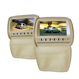 Sd Dvd Player Australia - 2PCS 9 inch leather tan car dvd player headrest back seat mount large dual screen 1080P Zipper cover USB SD FM IR game for kids