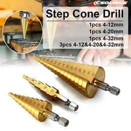 $enCountryForm.capitalKeyWord Australia - 3pcs Spiral Flute Step Drill Bit Step Cone Hole Cutter Drill Bit 4-12 20 32mm HSS Steel Woodworking Drill Tool Step Drills Bits
