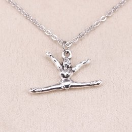 Gymnastic Pendants NZ - New fashion gymnastics gymnast sporter 22*16mm Antique Silver Pendant Girl Short Long Chain Necklaces Jewelry for women