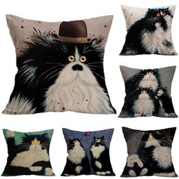 New Embroidered Pillowcases UK - New Pillow Cover Hot Cotton Cartoon Black and White Cat Sofa Linen Pillowcase Car Cushion Cover Home Decoration