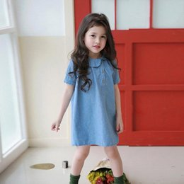 $enCountryForm.capitalKeyWord Canada - summer baby girl dress Cotton blend kids mini dress Solid Short sleeve Cowboy infant Round collar jeans Solid cute clothing 2-6Y