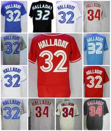 Wholesale 2018 Hot Sale Mens Roy Halladay Jersey Toronto Philadelphia Baseball Jerseys White Red Black Blue Stitched