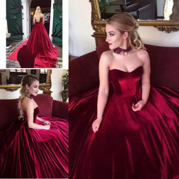cheap corsets petite sizes UK - Elegant Burgundy Velvet Prom Dresses ball gown Sweetheart Sleeveless Long Fashion lace up corset plus size Formal Evening Party Wear Cheap