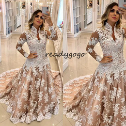 colorful muslim gold wedding dresses NZ - Champagne Plus Size Mermaid Wedding Dresses with Long Sleeve 2019 Full Lace Appllique Sweep Train High Neck Muslim Bridal Wedding Gown