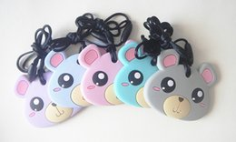 Silicone Teething Pendant Wholesalers Australia - New Teddy Bear Pendant Necklace Silicone Teethers Colorful Bear Teething Toy Baby Chew Nursing Necklace BPA Free Safe Pendant Teethers