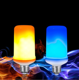 Blue night light BulBs online shopping - E27 LED Flame Effect Bulb AC V W Night Lights Yellow Blue Fire With Gravity Sensor Flickering Emulatio Lampada Decor