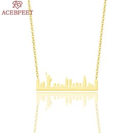 York Necklace Australia - ACEBFEET Statue of Liberty Necklaces City Accessories New York Jewelry for Women Boho Stainless Steel Pendant Chain BFF 2018