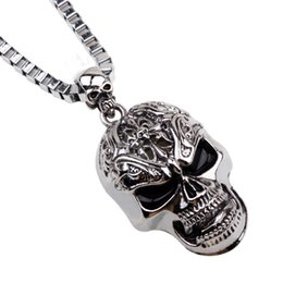 $enCountryForm.capitalKeyWord NZ - 2018 Stainless Steel Skull Head Charm Pendant Necklace Gold Silver Black Plated Skeleton Skull Necklace Chain for Men Halloween Jewelry Nec