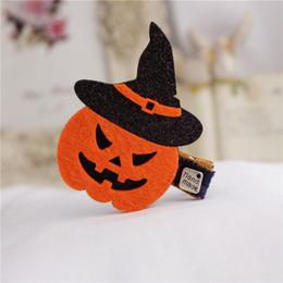Pumpkin Hair Australia - Halloween Girls Hairpins Solid Kawaii Glitter Ghost Bat Pumpkin Cat Hallowmas Hair Clips Party Headware