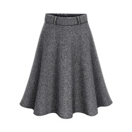 8e68073e87 6xl skirts online shopping - Fashion Big Skirt Pure Color Pleated Skirt  Ladies New Trend Woolen