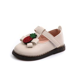 cute toddler girl shoes UK - JGSHOWKITO Baby Toddler PU Leather Shoes Soft Cute Rhinestone Pineapple Fruit Infants Leather Shoes Baby Girl Flats T-strap Hot