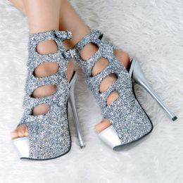 stylish lady shoes heel 2019 - Silver Sequined Stylish High Heels Sandalias New Woman Gift Lady Genuine Leather High Platform Sandals Party Wedding Sho