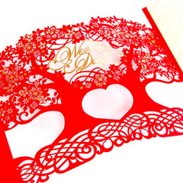Card Laser Designs UK - 3D laser cut Casamento Mariage Free Personalized & Customized Printing Wedding Invitations Cards Tree Design Envelope 50pcs lot
