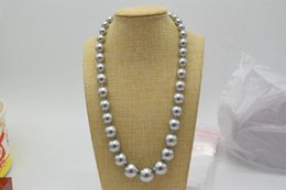 silver chain necklace 16mm Canada - Beautiful hand knotted 10-16mm round silver south sea shell pearl necklace 45cm fashion jewelry
