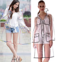 Wholesale fringe coat resale online – Raincoats EVA Waterproof Transparent Raincoat Fashionable Women Rainwear Rain Coat Jacket Rainbow Fringe Clothes Rain Gear DHL Free WX9