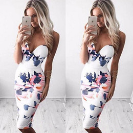 Wholesale trendy sexy short dresses resale online – Trendy Women Dress V neck Floral Print Bandage Bodycon Sleeveless Evening Sexy Polyester Mini Dresses