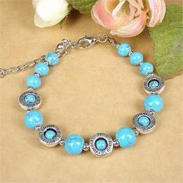 Native American Charms Australia - Wholesale-Vintage Ethnic Native American Turquoise Beads Silver Bracelet Fine Jewelry Gift For Women