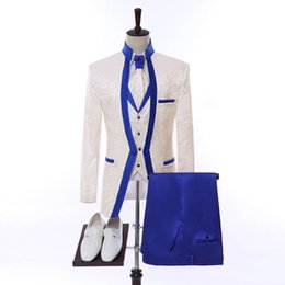 New latest desigN coat paNt online shopping - 2018 New Arrival Ivory With Blue Lapel Wedding Mens Suits Latest Coat Pant Design Tuxedo Masculino Custom Made Groom Mens Suit