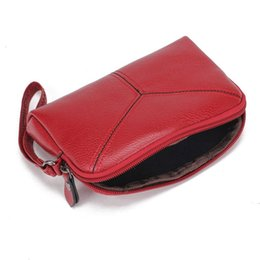 Wholesale Wrist Zipper Wallet Australia - Women's Purse Lady Elegant Solid Color Simple PU Leather Wallet Purse Zipper With Wrist Strap Woman Small Handbag ZX361301