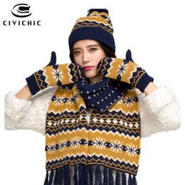 Black Scarves Gloves Sets NZ - CIVICHIC Winter Warm Set Lady Knit Woolly Scarf Hat Glove 3 Piece Christmas Snowflake Headwear Pompon Beanies Tassel Shawl SH128