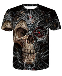 skeleton t shirts wholesale UK - print skeleton T shirts 3D Men T-shirts Novelty Animal Tops Tees Male Short Sleeve Summer Round Neck Tshirts dropshiping