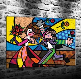 framed mural painting Australia - Lovers Flower Romero Britto , Canvas Painting Living Room Home Decor Modern Mural Art Oil Painting