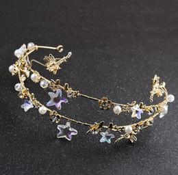 Discount starfish wedding hair - New bride jewelry accessories, wedding dress accessories, handmade five angle starfish hoop
