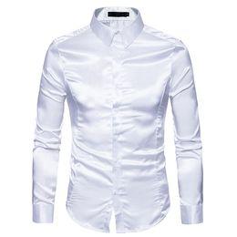 Silk tuxedoS online shopping - Black Silk Shirt Men Brand New Slim Fit Long Sleeve Silk Satin Dress Shirt Mens Business Wedding Groom Tuxedo Shirts Male