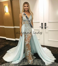 Images Gold Black Prom Dress Usa NZ - 2018 Sage Overskirts Sexy Evening Dresses Illusion Bodice Lace Appliqued MISS USA pageant Formal Prom Wear Deep V Neck Celebrity Dress