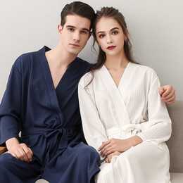 3c4bbc385b On Sale Lovers Summer Suck Water Kimono Bath Robe Women Men Plus Size Sexy  Waffle Bathrobe Mens Dressing Gown Male Lounge Robes