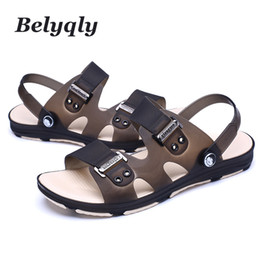 plastic men summer shoes Canada - Belyqly Men's Casual Sandals Hot Sale New Summer Beach Men Shoes Low Toe Plastic Slip On Buckle Casual Man Slippers Size40-45