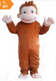 Monkey Halloween Costumes Canada - Brand 2018 New high quality Curious George monkey Adult mascot costume fancy party dress Halloween costume summer hot sale