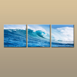 $enCountryForm.capitalKeyWord NZ - Framed Unframed Hot Modern Contemporary Canvas Wall Art Print Blue Seascape Wave oil painting Picture 3 piece Living Room Home Decor abc261