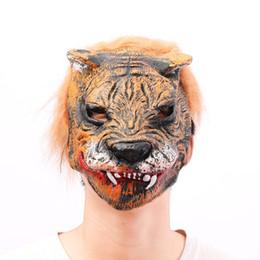 $enCountryForm.capitalKeyWord Australia - Cosplay Halloween Costume Realistic Fur Mane Latex Mask Creepy Animal Tiger Partern Full Face Adult Party Props Masks E