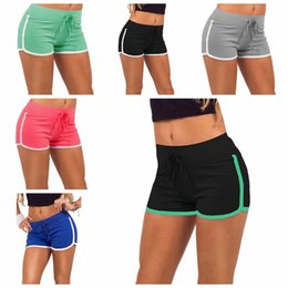 champagne sports 2019 - 7 Colors Women Cotton Yoga Sports Shorts Gym Leisure Homewear Fitness Pants Drawstring Summer Shorts Beach Running Exerc