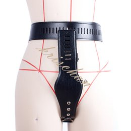 Leather Female Chastity Belt Device UK - PU Leather Flirting G String T-back Chastity Belt Device for Women S&M BDSM Bondage Restraints Sex Toys for Couple Adult Games