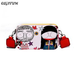 Discount mini small mobile phone new - New Cute Cartoon Print Mobile Phone Bag Colorful Shoulder Strap Handbag Women's Casual Shoulder Bag Small Mini Cros