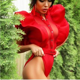 black sexy ladies clothes UK - Sexy gauze ruffles Folds of lotus lea fitness bodysuit women clothing fashion sexy hot slim bodycon jumpsuits solid ladies bodysuits rompers