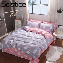 Pink Green Girls Bedding Canada - Solstice Home Textile Gray Pink Duvet Cover Pillowcase Bed Sheet Polar Bear Kid Teen Girls Bedding Set King Queen Twin Linen Kit