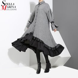 ruffled bottom dresses NZ - 2018 Winter Women Plus Size Gray Shirt Dress Long Sleeve Patchwork Bottom With Sloping Ruffle Cute Wear Party Dress Vestido 3073