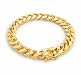 lock link chain Canada - 10mm MIAMI CUBAN LINK CHAIN BRACELET BOX LOCK 14K GOLD PLATED